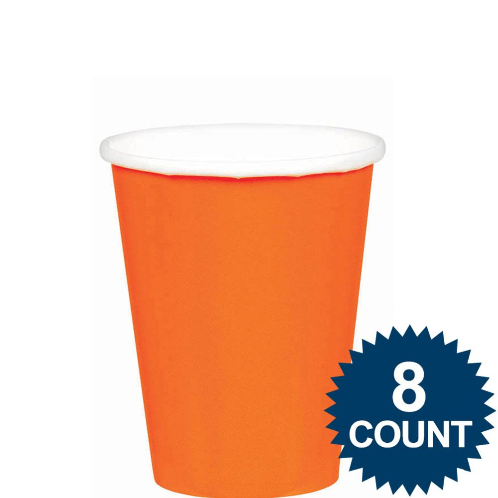 Orange 9Oz. Paper Cups (8 Pack) BB5801505