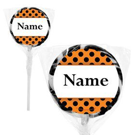 "Orange and Black Dots Personalized 2"" Lollipops (20 Pack)"