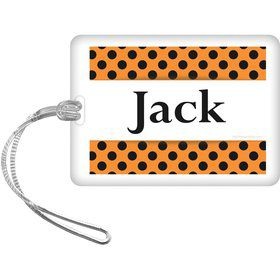 Orange And Black Dots Personalized Bag Tag (Each)