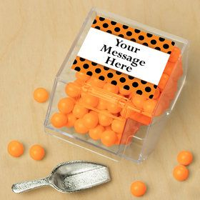 Orange And Black Dots Personalized Candy Bin with Candy Scoop (10 Count)