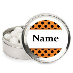 Orange and Black Dots Personalized Candy Tins (12 Pack)