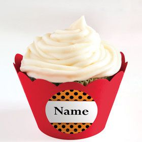 Orange and Black Dots Personalized Cupcake Wrappers (Set of 24)
