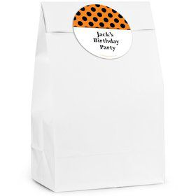 Orange And Black Dots Personalized Favor Bag (12 Pack)