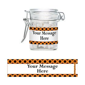 Orange And Black Dots Personalized Glass Apothecary Jars (10 Count)