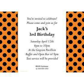 Orange And Black Dots Personalized Invitation (Each)