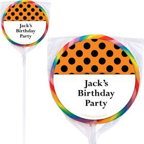 Orange And Black Dots Personalized Lollipops (12 Pack)