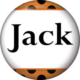 Orange And Black Dots Personalized Mini Button (Each)