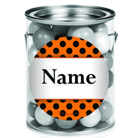 Orange And Black Dots Personalized Mini Paint Cans (12 Count)