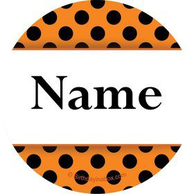 Orange and Black Dots Personalized Mini Stickers (Sheet of 24)