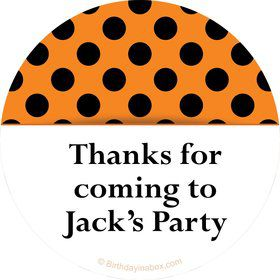 Orange And Black Dots Personalized Stickers (Sheet Of 12)