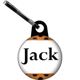 Orange And Black Dots Personalized Zipper Pull (Each)