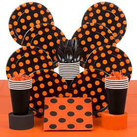 Orange And Black Party Deluxe Tableware Kit Serves 8