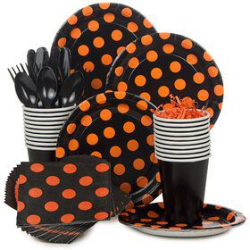 Orange And Black Standard Tableware Kit Serves 8