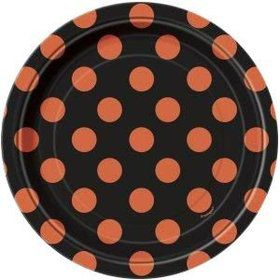 "Orange & Black 7"" Cake Plates (8 Pack)"