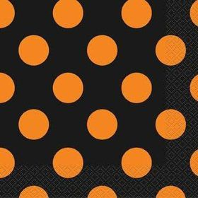 Orange & Black Dot Beverage Napkins (16 Pack)
