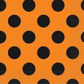 Orange & Black Dot Luncheon Napkins (16 Pack)