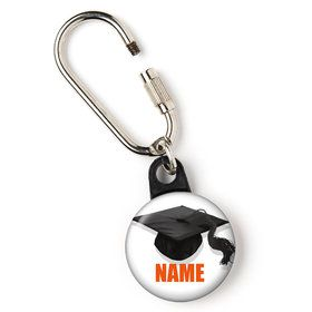"Orange Caps Off Graduation Personalized 1"" Carabiner (Each)"