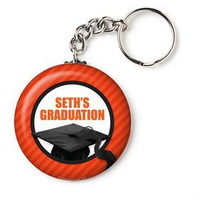 "Orange Caps Off Graduation Personalized 2.25"" Key Chain (Each)"