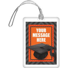 Orange Caps Off Graduation Personalized Bag Tag (Each)
