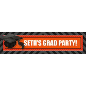 Orange Caps Off Graduation Personalized Banner (Each)