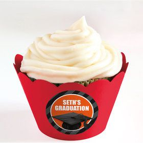 Orange Caps Off Graduation Personalized Cupcake Wrappers (Set of 24)