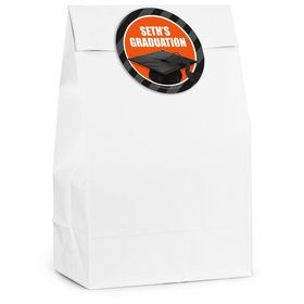 Orange Caps Off Graduation Personalized Favor Bag (12 Pack)