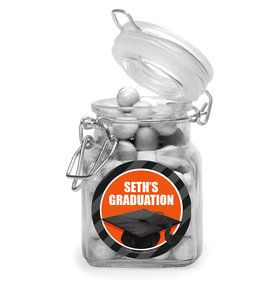 Orange Caps Off Graduation Personalized Glass Apothecary Jars (12 Count)