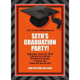 Orange Caps Off Graduation Personalized Invitation (Each)