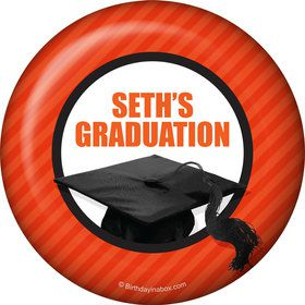 Orange Caps Off Graduation Personalized Magnet (Each)