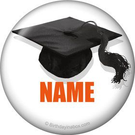 Orange Caps Off Graduation Personalized Mini Button (Each)