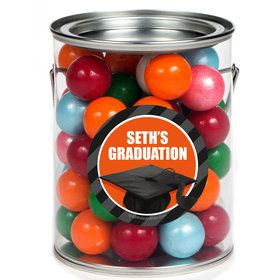 Orange Caps Off Graduation Personalized Paint Cans (6 Pack)