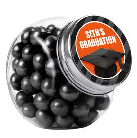 Orange Caps Off Graduation Personalized Plain Glass Jars (12 Count)