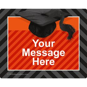 Orange Caps Off Graduation Personalized Rectangular Stickers (Sheet of 15)