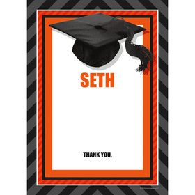 Orange Caps Off Graduation Personalized Thank You (Each)