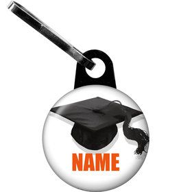 Orange Caps Off Graduation Personalized Zipper Pull (Each)