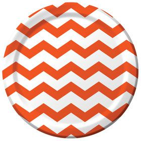 "Orange Chevron 9"" Luncheon Plate (8 Count)"