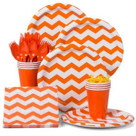 Orange Chevron Standard Party Tableware Kit (Serves 8)