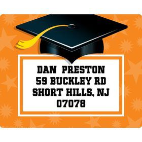 Orange Grad Personalized Address Labels (Sheet Of 15)
