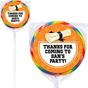Orange Grad Personalized Lollipops (12 Pack)