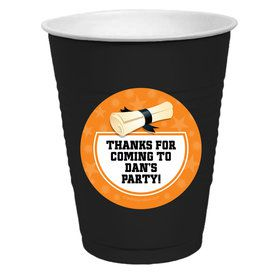 Orange Grad Personalized Party Cups