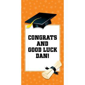 "Orange Graduation Personalized Giant Banner 30X6"" (Each)"