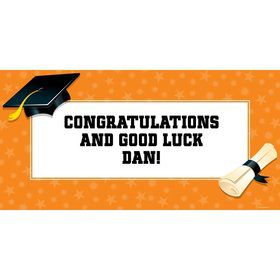 "Orange Graduation Personalized Giant Banner 60X3"" (Each)"