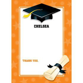 Orange Graduation Personalized Thank You (Each)