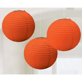 Orange Paper Lantern Decorations (3 Count)