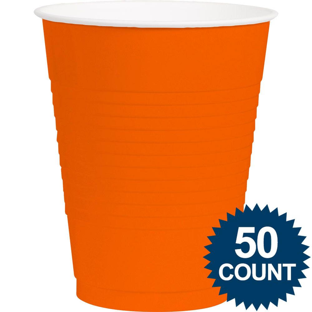 Orange Plastic 16oz. Cup (50 Pack) - Party Supplies BB43680105