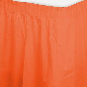 Orange Plastic Table Skirt (Each)