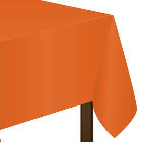 "Orange Plastic Tablecover, 54""-108"""