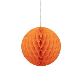 "Orange Solid Color 8"" Honeycomb Ball Decoration (Each)"