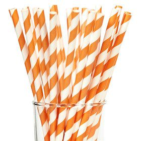 Orange Striped Paper Straws (25)