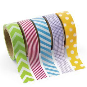 Paper Primary Patterned Washi Tape Set (5 Rolls)